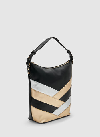 Colour Block Hobo Bag, Black, hi-res
