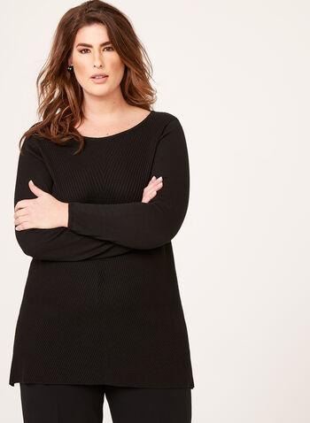 Pull tunique en tricot, Noir, hi-res