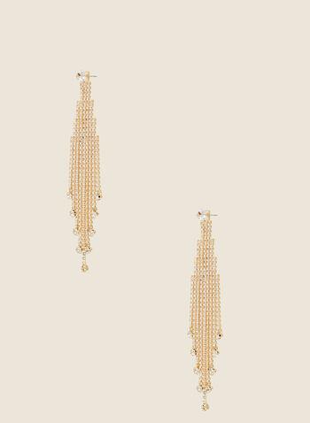 Boucles d'oreilles cascades de cristaux, Or,  automne hiver 2020, boucles d'oreilles, bijou, accessoire, cristaux, chandelier