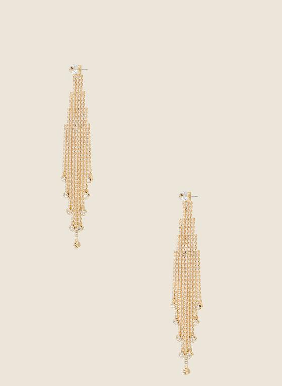 Boucles d'oreilles cascades de cristaux, Or