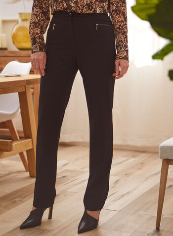 Signature Fit Straight Leg Pants, Black,  pants, signature, straight, zipper, bi-stretch, fall winter 2020