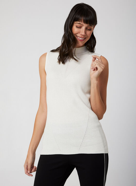 Sleeveless Knit Top, Off White