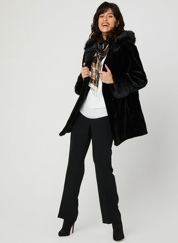 Nuage - Hooded Faux Fur Coat, Black, hi-res