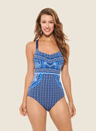 Christina - Mosaic Print Crisscross Back Swimsuit, Blue