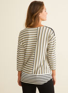 3/4 Sleeve Striped T-shirt , Multi