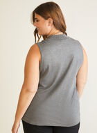 Mock Neck Sleeveless Sweater, Grey