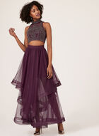 Double Layer Mesh Two-Piece Gown, Red, hi-res