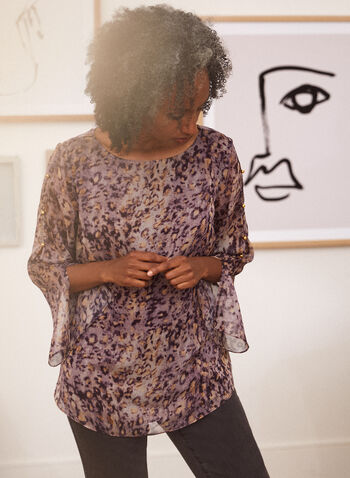 Leopard Print Chiffon Blouse, Purple,  fall winter 2021, top, blouse, chiffon, round neck, jewel neck, 3/4 sleeve, peek-a-boo sleeve, slit sleeve, slit detail, stud detail, button detail, rounded hem, leopard print, animal print, cheetah print, lined, lightweight