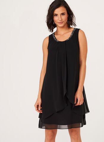 Tiered Beaded Neck Chiffon Dress, , hi-res