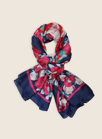 Rose Print Lightweight Scarf, Blue,  scarf, lightweight, floral, rose, spring summer 2020