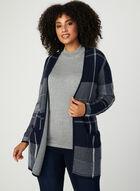 Cardigan à carreaux en tricot jacquard, Bleu, hi-res