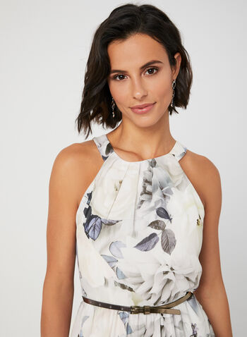 Floral Print Maxi Dress, White, hi-res,  Fall winter 2019, cleo neck, sleeveless, chiffon, maxi