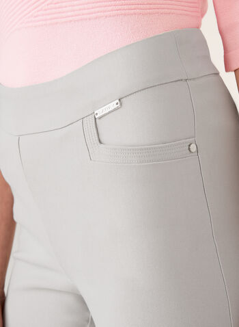 Straight Leg Bengaline Pull-On Pants, Grey, hi-res