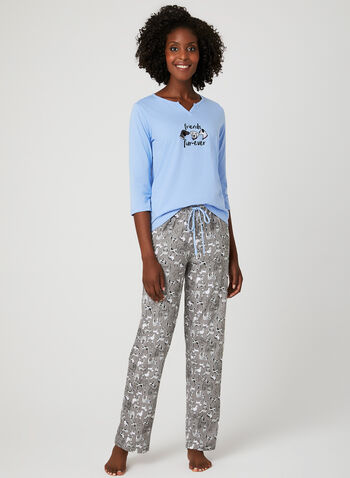René Rofé – Animal Print Pyjama Set, Blue, hi-res
