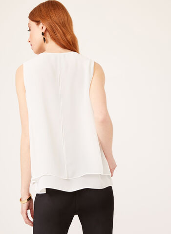 Sleeveless Crepe Capelet Blouse, Off White, hi-res