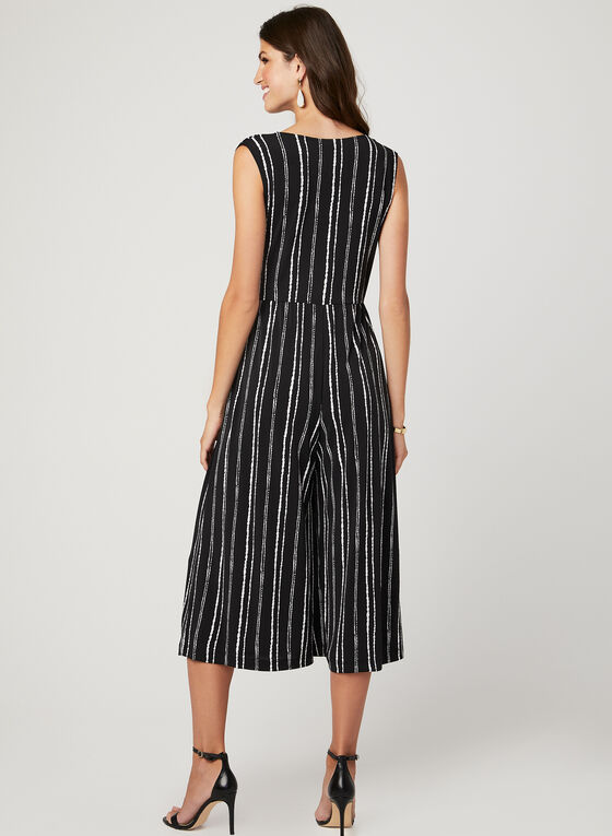 Stripe Print Wide Leg Jumpsuit, Black, hi-res