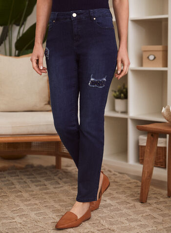 Pearl Patch Straight Leg Jeans, Blue,  fall winter 2021, jeans, pants, bottoms, denim, stretch denim, mid rise, straight leg, 5 pockets, zip fly, button closure, belt loops, pearl patch, pearl, stone, embellished, patch