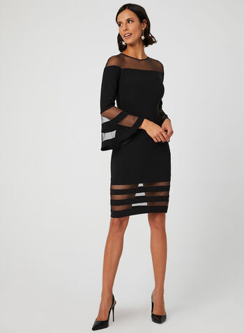 Mesh Bell Sleeve Dress, Black, hi-res