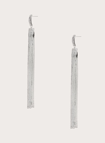 Chain Fringe Dangle Earrings, Silver, hi-res