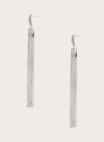 Pendants d'oreilles à chaînettes et strass, Argent, hi-res