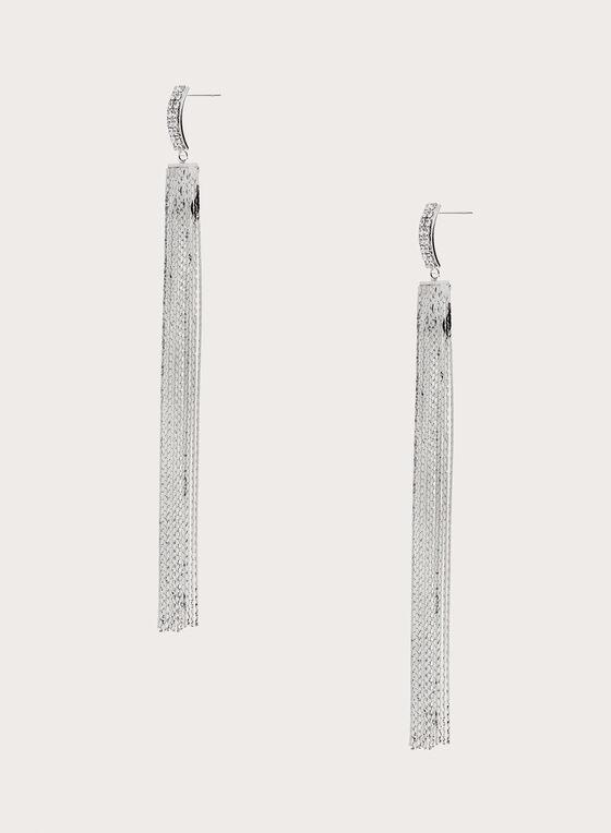 Chain Fringe Dangle Earrings, Silver, hi-res