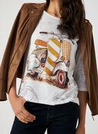 T-shirt motif scooter et détails strass, Blanc, hi-res