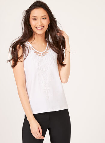 Embroidered Detail Tank Top, White, hi-res