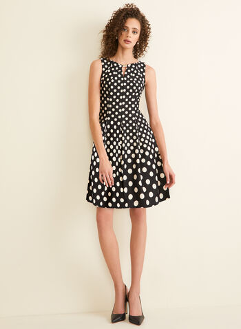 Sleeveless Polka Dot Print Dress, Black,  day dress, short dress, dress, polka dots, polka dot print, polka dot dress, fit & flare dress, sleeveless, sleeveless dress, spring 2020, summer 2020, summer dresses