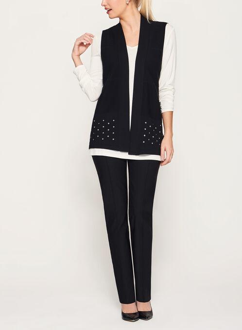 Cardigan sans manches tricotée à œillets métalliques, Noir, hi-res