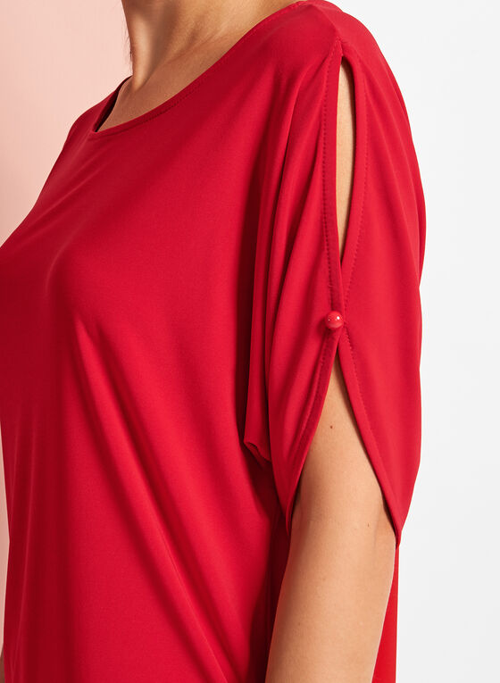 Cold Shoulder Button Trim Top, Red, hi-res