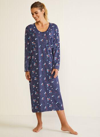 Floral Print Nightshirt, Blue,  fall winter 2020, nightshirt, pyjama, floral