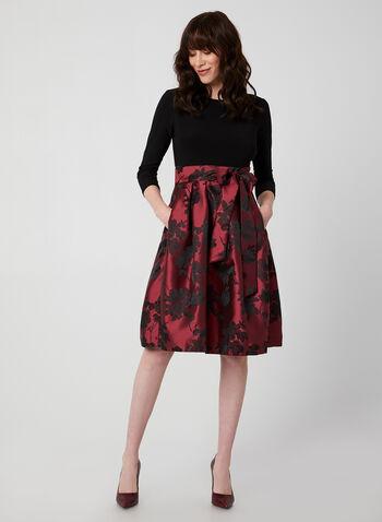 Robe à jupe fleurie en brocart, Noir, hi-res,  robe cocktail, brocard, jersey, manches 3/4, fleurs, automne hiver 2019