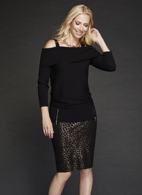 Cold Shoulder Marilyn Neck Knit Sweater, Black, hi-res