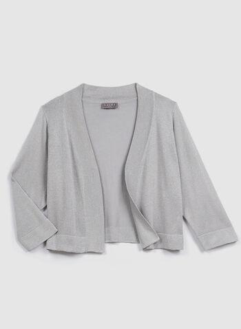 Boléro en tricot brillant à manches ¾, Argent, hi-res