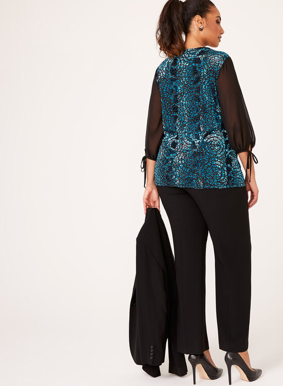 Chiffon Sleeve Velvet Top , Blue, hi-res
