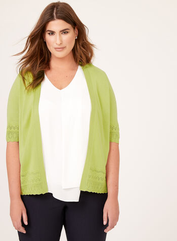Mesh Jersey Open Front Cardigan , Green, hi-res