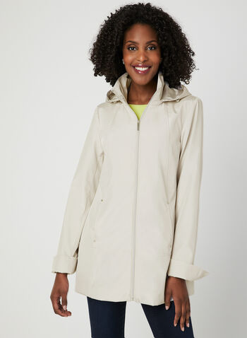 A-Line Raincoat, Off White,  removable hood, spring 2019