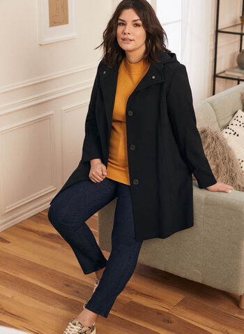 Portrait - Hooded A-Line Coat, Black,  coat, hood, spring coat, buttoned coat, buttons, spring 2020, summer 2020