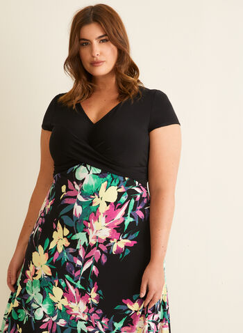 Joseph Ribkoff - Floral Skirt Jersey Dress, Black,  day dress, v-neck, short sleeves, jersey, floral, mesh, spring summer 2020