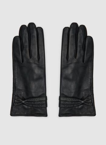 Gants en cuir à détail torsadé, Noir,  gants, torsadé, cuir, automne hiver 2019