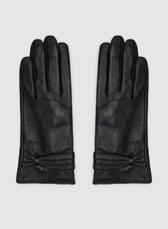 Gants en cuir à détail torsadé, Noir