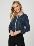 Crystal Embellished Denim Jacket, Blue