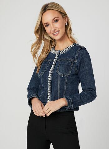 Crystal Embellished Denim Jacket, Blue, hi-res,