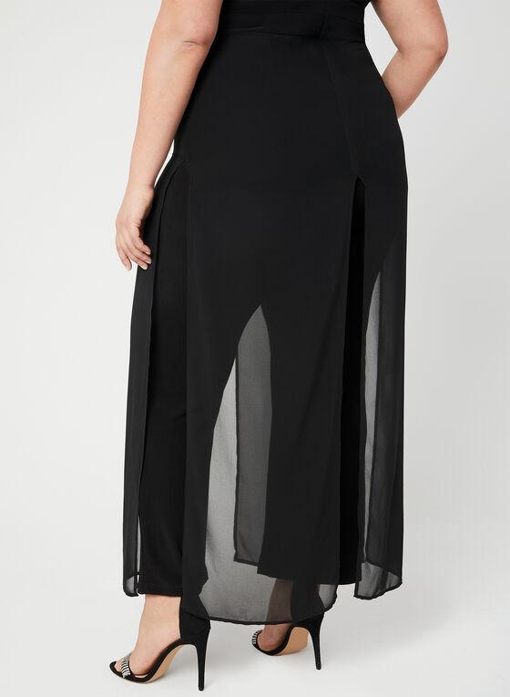 Combinaison à jambe large et mousseline, Noir