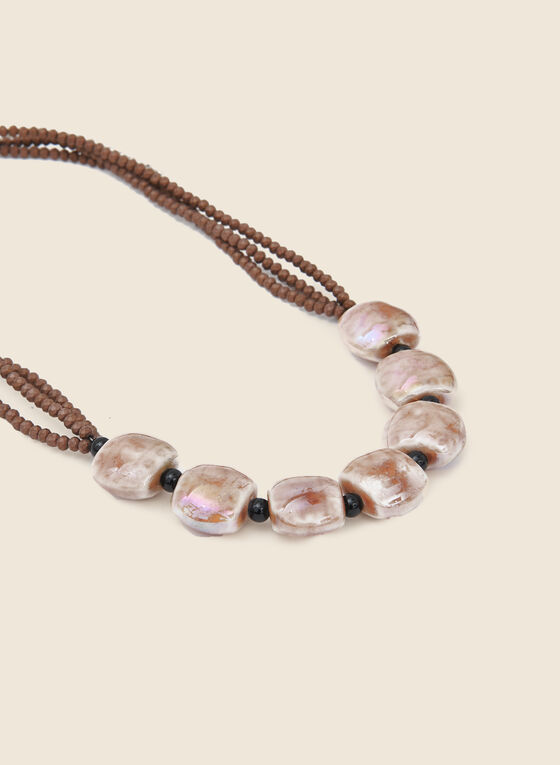 Bead & Cylindrical Stone Necklace, Brown