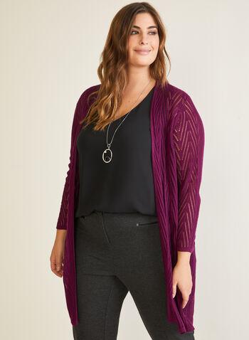 Cardigan long en tricot pointelle, Violet,  cardigan, tricot, pointelle, ouvert, manches longues, automne hiver 2020