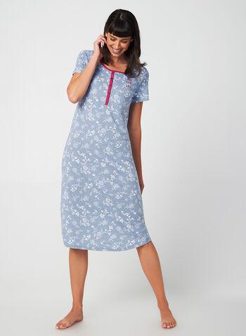 Claudel Lingerie - Floral Nightgown, Blue, hi-res,  Claudel Lingerie, sleepwear, nightgown, pyjama, fall 2019, winter 2019