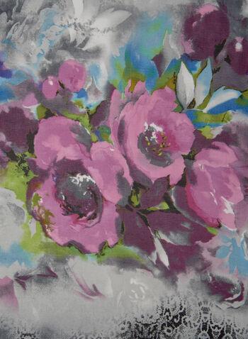 Floral Print Lightweight Scarf, Pink,  scarf, oblong, silk, floral, spring summer 2021