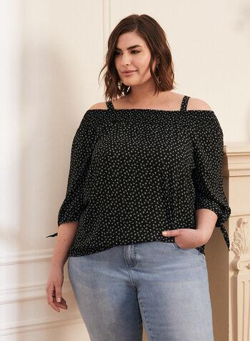 Floral Off-the-Shoulder Blouse, Black,  blouse, bardot, off the shoulder, floral, knot, long sleeves, crepe, spring summer 2020