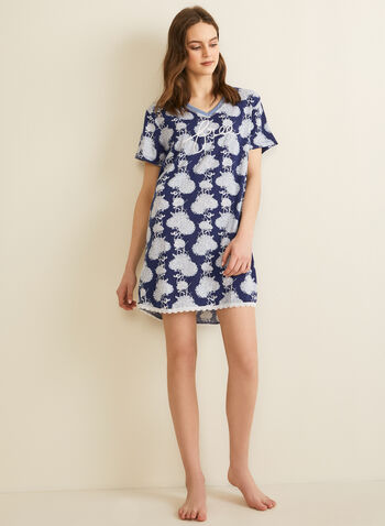 Comfort & Co. - Lace Trim Nightshirt, Blue,  spring summer 2020, nightgown, night shirt, pyjama